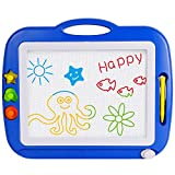 magnet drawing board with stamps - SGILE Non-Toxic Big Magnetic Erasable Magna Doodle Drawing Board Toy, Assorted Colors Writing Painting Sketching Pad Board for Toddler Boy Girl Kids Skill Development, Blue( Extra Large)