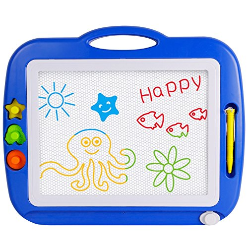SGILE Non-Toxic Big Magnetic Erasable Magna Doodle Drawing Board Toy, Assorted Colors Writing Painting Sketching Pad Board for Toddler Boy Girl Kids Skill Development, Blue( Extra (Mega Doodle)