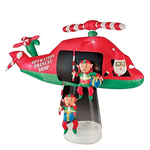 Gemmy 114.17 in. D x 57.09 in. W x 96.85 in. H Animated Inflatable Santa and Elves in Helicopter Scene