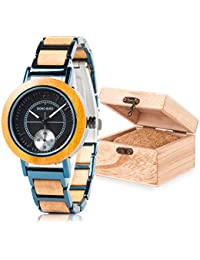 Amazon.com: Women Watches Wooden Stainless Metral Wrist Watch, Two Dials Handmand Analog Wooden Watch Black Face with Gift Box: Watches