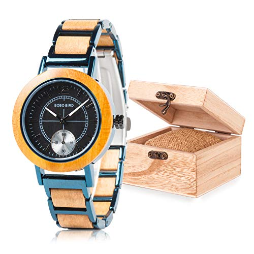 Women Wooden Watches, Stainless Metral Wrist Watch, Two Dials Handmand Analog Wooden Watch Black Face with Gift Box
