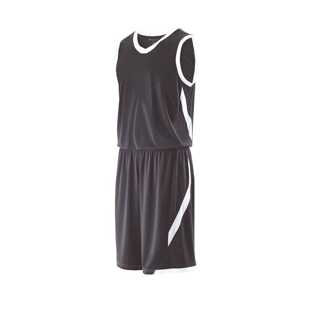 Holloway Youth Lateral Basketball Shorts (Youth Small, Graphite/White)