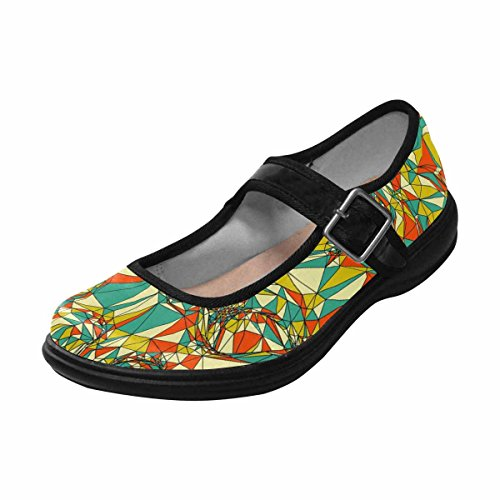 Multi Mary Shoes Walking 1 InterestPrint Comfort Casual Womens Jane Flats SqwF08xw