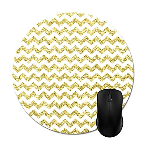 Gold Glitter Chevron Background Mouse Pads Trendy Stylish Office Computer Accessories Round 8