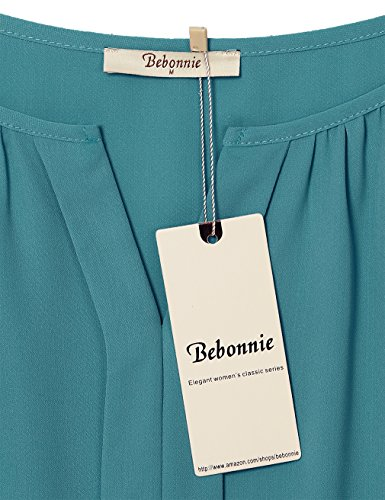41eb80d8f8e Bebonnie Womens Casual Front Pleated Chiffon Blouse Ladies Cuffed Sleeve Office  Tunic Tops Tops, Tees & Blouses