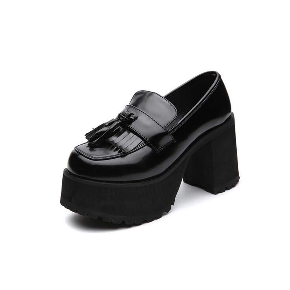 Hy Frauen Flache Mund Schuhe, Frühling Herbst Leder Dicke Boden erhöhen Tassel Schuhe, Damen Starke Ferse Schuhe, Büro & Karriere Party & Abend (Farbe   Schwarz, Größe   35)