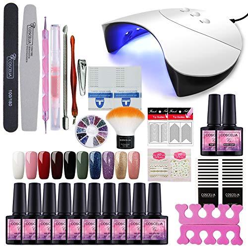 Fashion Zone 10 Colors Soak Off Gel Polish Starter Kit 36W LED UV Nail Dryer Curing Lamp Manicure Nail Tool