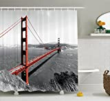 Ambesonne Apartment Decor Collection, Golden Gate Bridge Civil Engineering History Monochromatic Travel Destinations View, Polyester Fabric Bathroom Shower Curtain, 84 Inches Extra Long, Dimgray