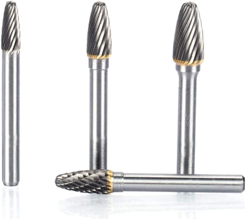 Milling Cutter 5pcs/lot 6mm Shank Tungsten Steel Cutter Metal Grinding Carving Rotary File Cylindrical Router Bit Polishing F Type-4318 4317