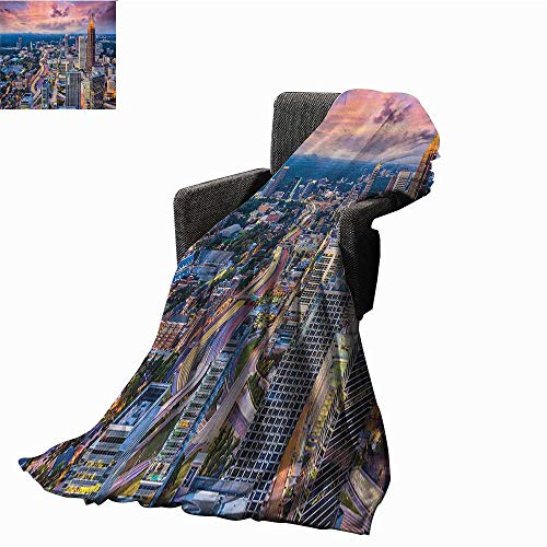 Modern Home Throw Blanket Atlanta City Skyline at Sunset with Hazy Light Georgia Town American View Home, Couch, Outdoor, Travel Use 54