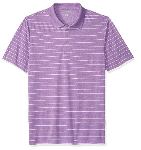 Amazon Essentials Men's Regular-Fit Quick-Dry Golf Polo Shirt, Purple Stripe, Small