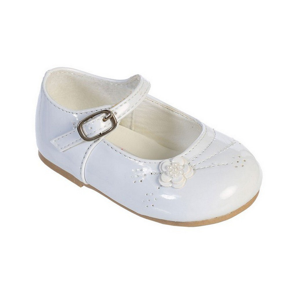 Little Girls White Flower Applique Patent Leather Mary Jane Shoes 6 Toddler