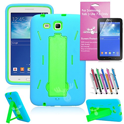 samsung cases. epicgadget case shockproof hybrid with build in i kickstand protective cover for samsung tablet galaxy tab 3 lite 7.0 - (blue and green) cases
