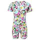 qyqkfly Baby/Toddler Girls Full Zip UPF 50+ Sun Protection One Piece Swimsuit(FBA) (B-Pink Rose, 12M-18M)