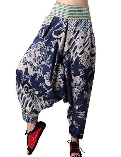 Youlee Gros Clouds Femmes Fourche Élastique Pantalons Imprimé Bleu Taille XnvXHrx