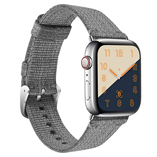 Cywulin Compatible with Apple Watch Band 40mm 44mm 38mm 42mm Classic Soft Nylon Fabric Sport Loop Replacement Lightweight Breathable for iWatch Series 1 2 3 4 Hermes Nike+ Edition (38mm/40mm, Gray)