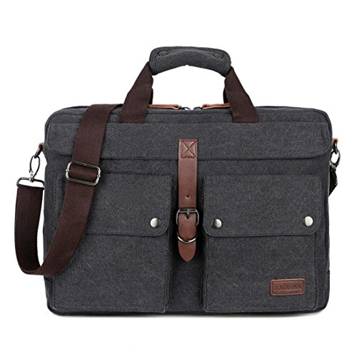 BAOSHA BC-07 17inch Canvas Laptop Computer Bag Messenger Bag Multicompartment Briefcase (Black) ()
