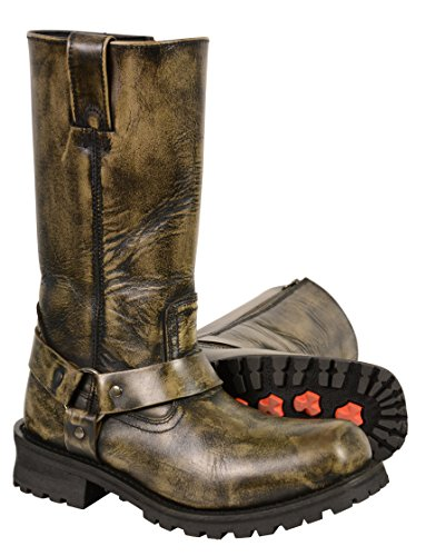 Milwaukee Leather Men's Distressed Brown Classic Harness Motorcycle Boots (Size 11) -