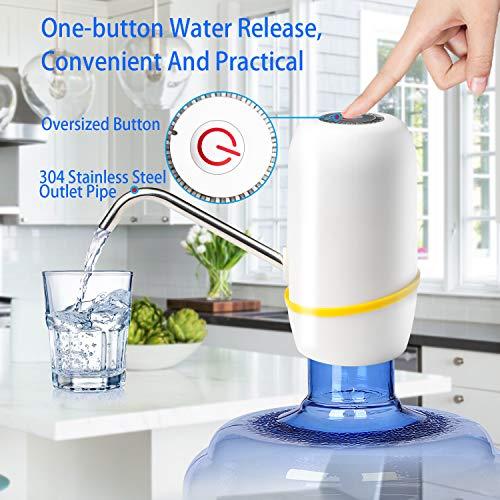 Water Bottle Pump, Electric Drinking Water Pump 5 Gallon Water Bottle Cooler Dispenser USB Charging Portable Water Dispenser by BLUFAWA (Image #3)