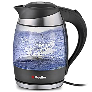 Mueller Ultra Cordless Electric Kettle Fast Boiling Glass Tea, Coffee Pot 1.8 Liter Cordless with LED Light Inside High Quality Borosilicate Glass BPA-Free