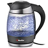 Appliances : Mueller Ultra Cordless Electric Kettle Fast Boiling Glass Tea, Coffee Pot 1.8 Liter Cordless with LED Light Inside High Quality Borosilicate Glass BPA-Free