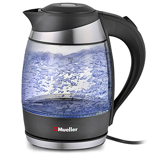 Mueller Ultra Cordless Electric Kettle Fast Boiling Glass Tea, Coffee Pot 1.8 Liter Cordless with LED Light Inside High Quality Borosilicate Glass BPA-Free (Pots Boiling Water For)