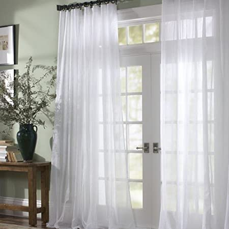 Sheer Curtains Window Voile Panels Thermal Insulated Grommet Top Curtain