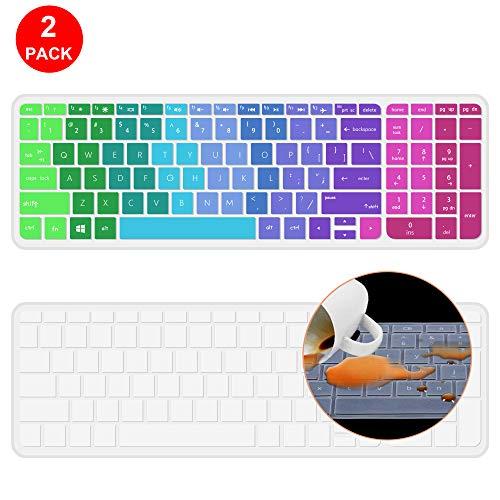[2 Pack] Keyboard Cover for HP Notebook 15.6 Premium Laptop, HP 15-BA009DX Notebook, HP 15-BS015DX 15-BS158CL 15-BS115DX, HP 15-BA009DX 15-BA010nr 15-BA015WM 15-BA079DX 15-BK163DX 15-AY103DX(Rainbow)