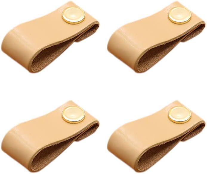 Juego de 4 tiradores de cuero clásico de Bledyi para armarios, zapateros, cajones, maletas, cajas de madera o cajas de vino