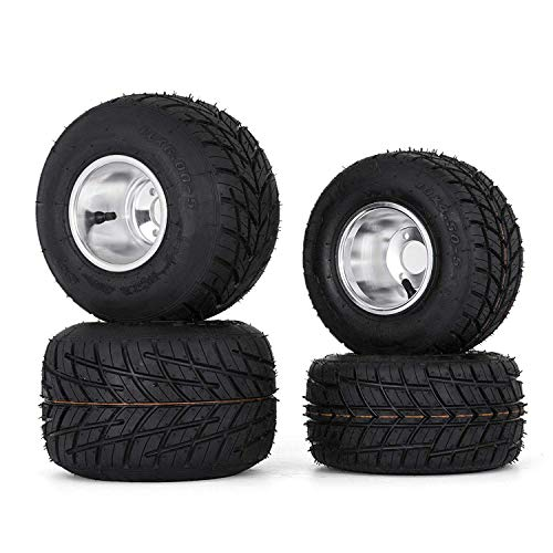 Bestauto Go Kart Tires and Rims 10x4.50-5 Front 11x6.0-5 Rear Go Kart Wheels and Tires Sets of 4 (Racing Rear Sets)
