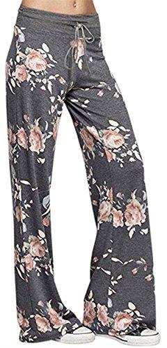 (Sexymee Women's Stretch Cotton Pajama Lounge Pants Polka Dot Striped Sleepwear,Dark Grey)