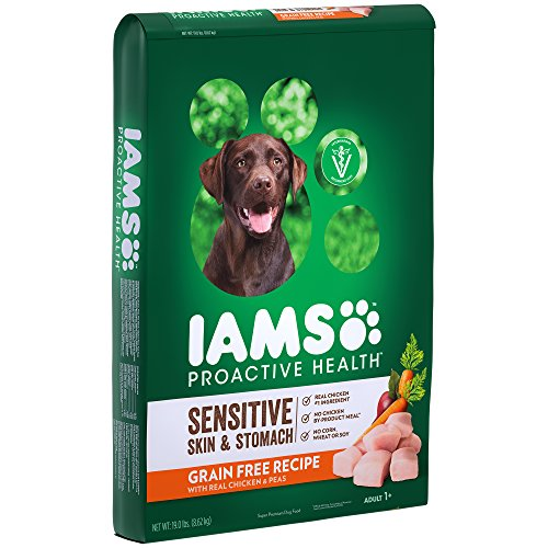 Iams Proactive Health Sensitive Skin & Stomach Grain Free Dry Dog Food With Real Chicken And Peas, 19 Lb. Bag
