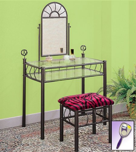 New Black Metal Sunburst Make Up Vanity Table with Mirror &