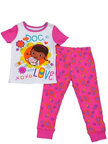 Disney Girls Pink Love Doc McStuffins Pajama Top Bottoms 2 PC Sleep Set PJs 2T -