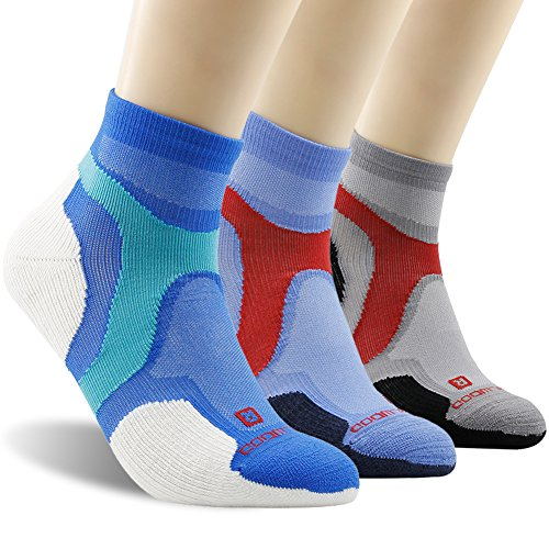 Running Socks Men, ZEALWOOD Men Mountain Biking Socks Soft Cushion Tail Socks,Low Cut Wool Socks,Wool Hiking Socks Merino Wool Ankle Cycling Running Socks Antibacterial Athletic Socks,Multicoloured, Large,3 ()
