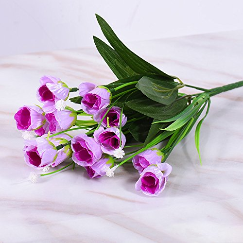 (Jhyflower Single Plastic Fake Flower Living Room Decoration Decoration Decoration Small wedding bouquet velvet cloth Artificial flower, pink purple star rose 5 fork 15 head)