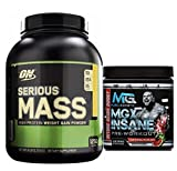 Serious Mass by Optimum Nutrition Weight Gain High Protein Powder, 6lb, Chocolate Peanut Butter + MGX Insane Pre-Workout Energy & Endurances booster, 438 Grams Watermelon