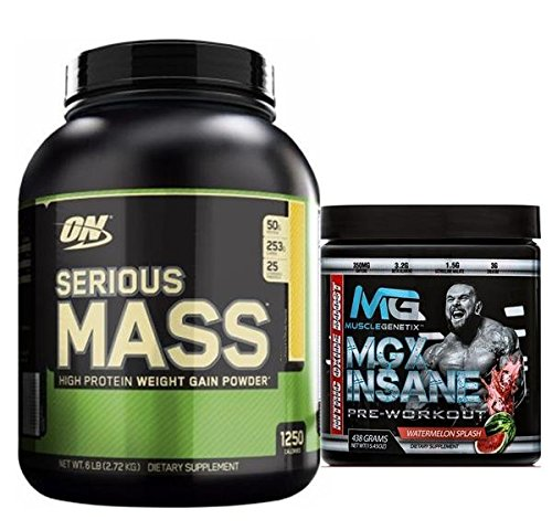Serious Mass by Optimum Nutrition Weight Gain High Protein Powder, 6lb, Chocolate Peanut Butter + MGX Insane Pre-Workout Energy & Endurances booster, 438 Grams Watermelon by Optimum Nutrition/MGX Nutrition