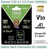 256GB Micro SD Card Plus Adapter. Amplim MicroSD SDXC Memory Card Pack (100MB/s 667X V30 A1 Class 10 U3 UHSI) 256 GB MicroSDXC TF Card Flash - Cell Phone, Drone, Camera, GoPro, Fire, Nintendo