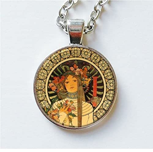Amazon.com: Alphonse Mucha Pendant Necklace Earrings Art