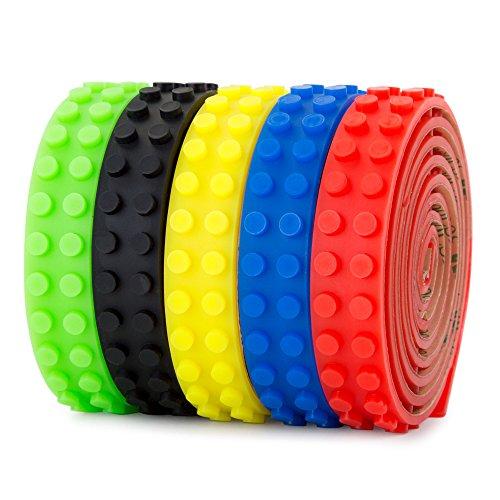 Lego Building Block Tape – Pack of 5 Rolls of Silicone Tape Compatible with All Lego Collections, Self-Adhesive with Quality 3M Tape – 5 Rolls: Black, Red, Yellow, Green, Blue - 1 m Each - Non-Toxic