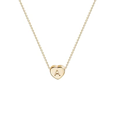 1c46c07146c5 OSIANA Personalized Cute Tiny Initial Heart Necklace Delicate Gold Heart  Pendant Name Choker Necklace for Women