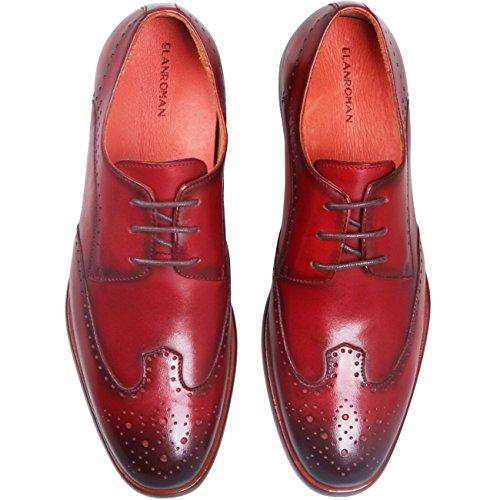 Elanroman Adapté À Lergonomie Italien Fait Main Oxfords Chaussures Hommes Affaires Robe Chaussures Pour Derby Bourgogne