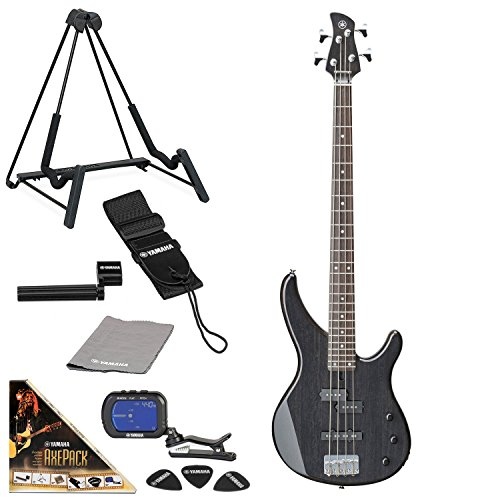 Yamaha TRBX174 Electric Bass Guitar Bundle with AxePack Accessory Pack (Translucent Black) -
