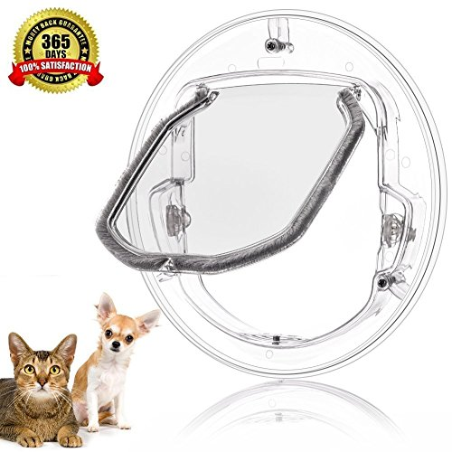 Pet Door For Cats And Small Dogs With 4 Ways Lock,Round Clear Cat Flap