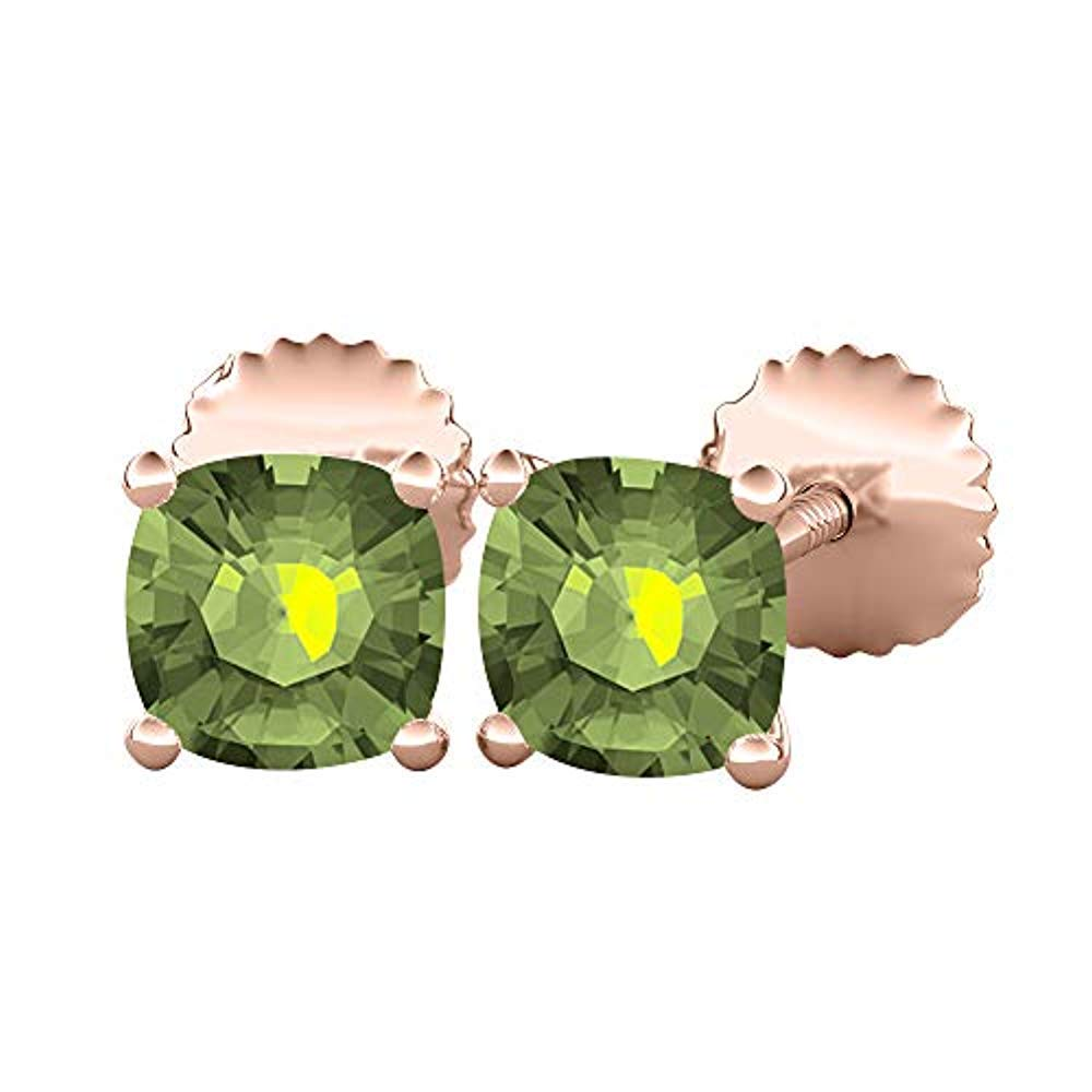 Solitaire Womens /& Girls Stud Earrings 14K Rose Gold Over .925 Sterling Silver Trendzjewels Cushion Cut Created Gemstones 6MM