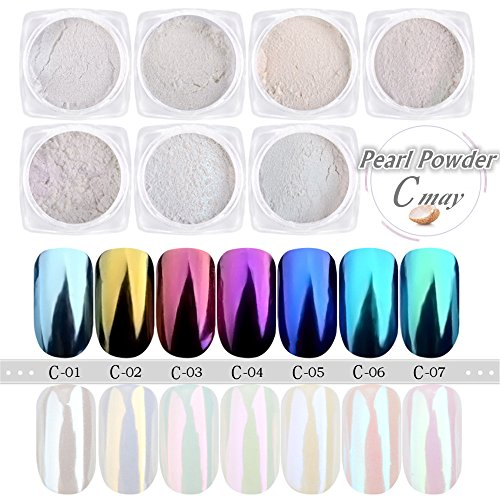 Metallic Nail Art - CHARMING MAY Pearl Powder Mirror Effect Rainbow Unicorn Chrome Metallic Manicure Pigment Nail Art Mermaid Powder (7 Pack Pearl Powder)