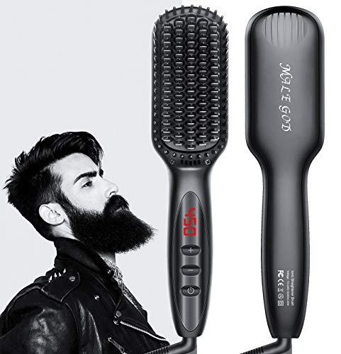 Beard Straightener for Men, MALE GOD Beard Brush with Ceramic Heater and Ionic Generator, Fast Straight Beard Comb Straightener for Hair and Beard, Dual Voltage Beard Straightener Brush for Men Gifts