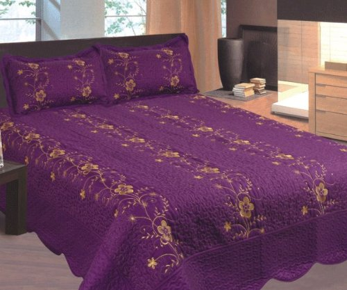 Purple and Gold Embroidered 3pc Bed Quilt w/ Pillow Shams Queen Size