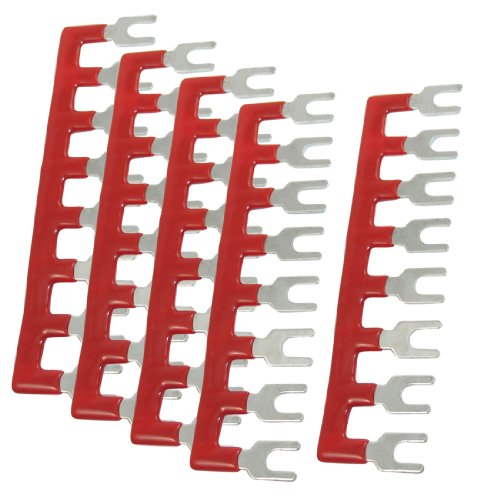 uxcell 400V 10A 8 Postions Pre Insulated Terminal Barrier Strip Red 5 Pcs